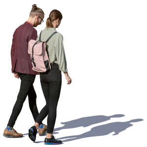 young man and woman walking together