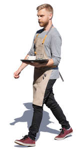 waiter walking with a tray