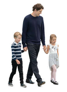 man and two kids walking