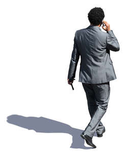 black businessman walking seen from above