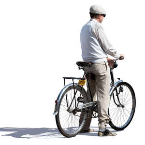 man with a bike standing