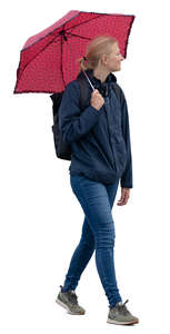 woman with an umbrella walking