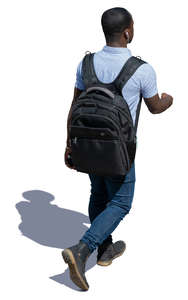 black man with a backbag seen from above