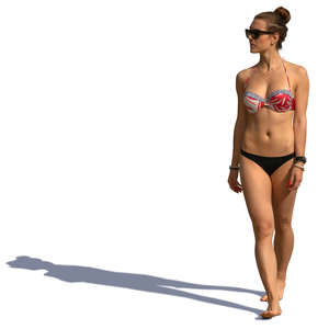 woman in a bikni walking