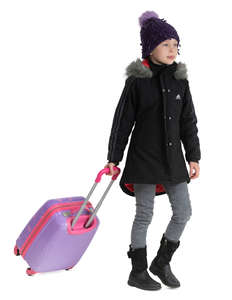 little girl in a winter coat pulling a suitcase