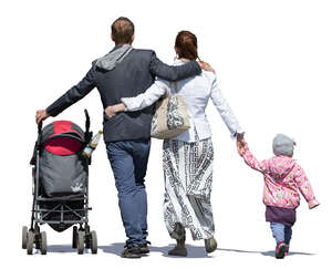 family walking on a sunny day