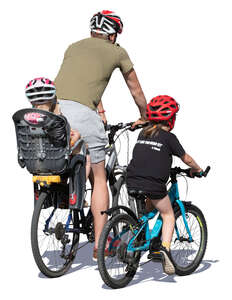 father with two daughters biking
