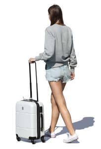 woman with a suitcase walking