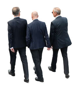 three businessmen walking seen from above