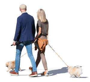couple with two dogs walking