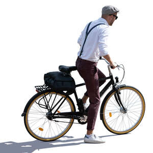 trendy man riding a bike