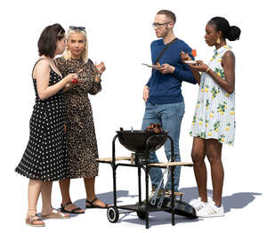 group of four having a barbeque party