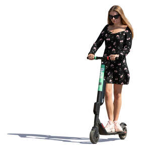 woman riding an electric scooter