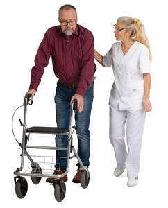 nurse talking to a handicapped  older man