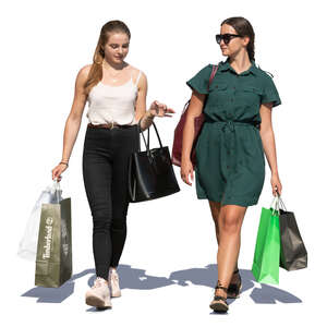 two young women coming from shopping