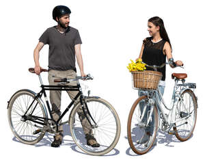 two people with bikes standing and talking