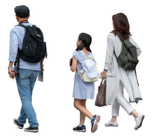 asian family of three walking