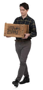 man carrying a wooden box