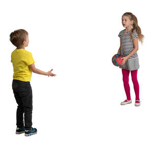 two kids playing with a ball