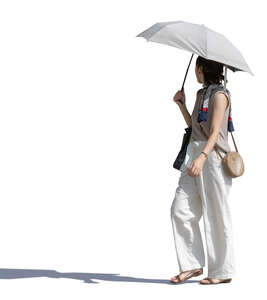 asian woman with a parasol walking on a sunny day