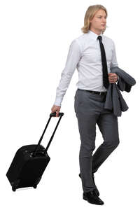 young travelling businessman walking