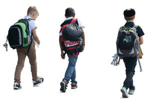 group of three boys with backpacks walking