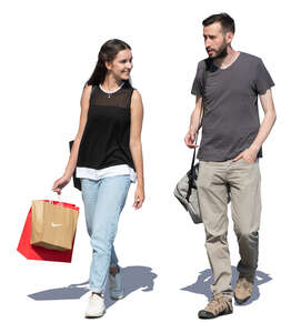 man and woman coming from a shopping trip
