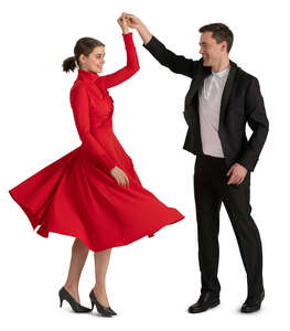 man and woman dancing happily