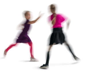 motion blur image of two girls playing