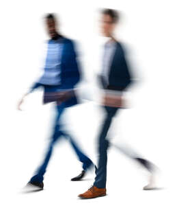 motion blur image of two men walking