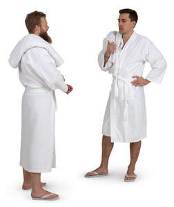 two men in spa bathrobes standing and talking