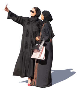 two muslim women taking a selfie