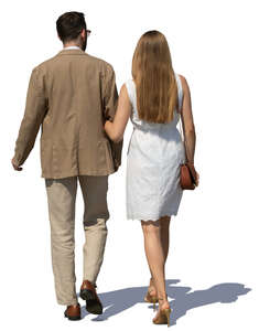 couple in summer clothes walking