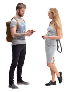 man and woman standing and talking