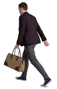 man with a bag walking hastily