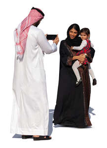 arab man taking a picture of his family