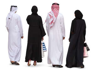 four emirati people with shopping bags walking