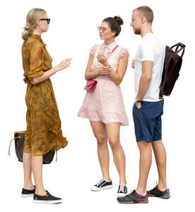 group of three young people talking