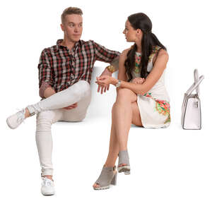 young man and woman sittin and talking