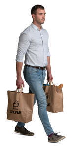 man with two big groceries bag walking