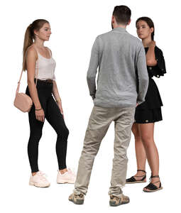 three people standing in group and talking