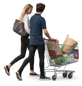 couple with a shopping cart walking
