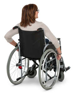 older woman in a wheelchair seen from back angle
