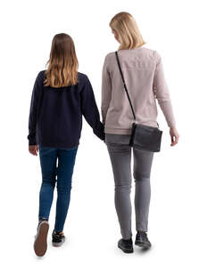 mother and teenage daughter walking hand in hand