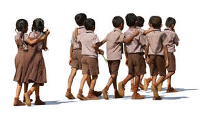 group of indian school children walking