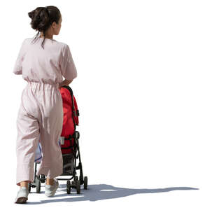 asian woman with a baby stroller walking