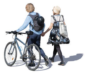 young man with bicycle walking hand in hand with a woman