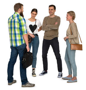 group of four young people standing and talking