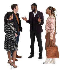 group of four people standing and talking