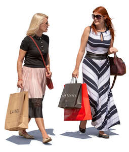 women with shopping bags walking and talking